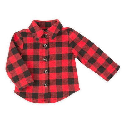 Northern Spirit red and black buffalo plaid button-up flannel shirt fits all 18 inch dolls.