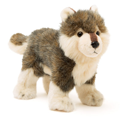 Nukilik plush mom dog has husky markings and personalized collar.