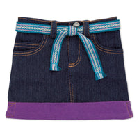 Nunavut Now denim skirt with blue tie-belt and purple hem fits all 18 inch dolls.