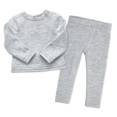 Nunavut Now grey leggings, grey long-sleeve t-shirt fits all 18 inch dolls.