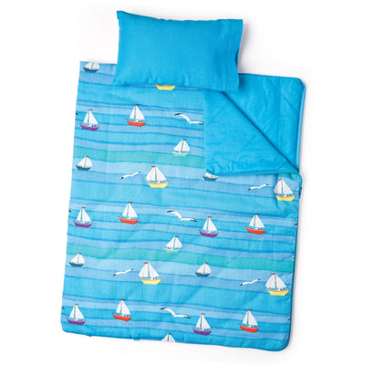 Ocean Waves Bedding comforter/ sleeping bag, blue pillow. For 18 inch  boy dolls and girl dolls.