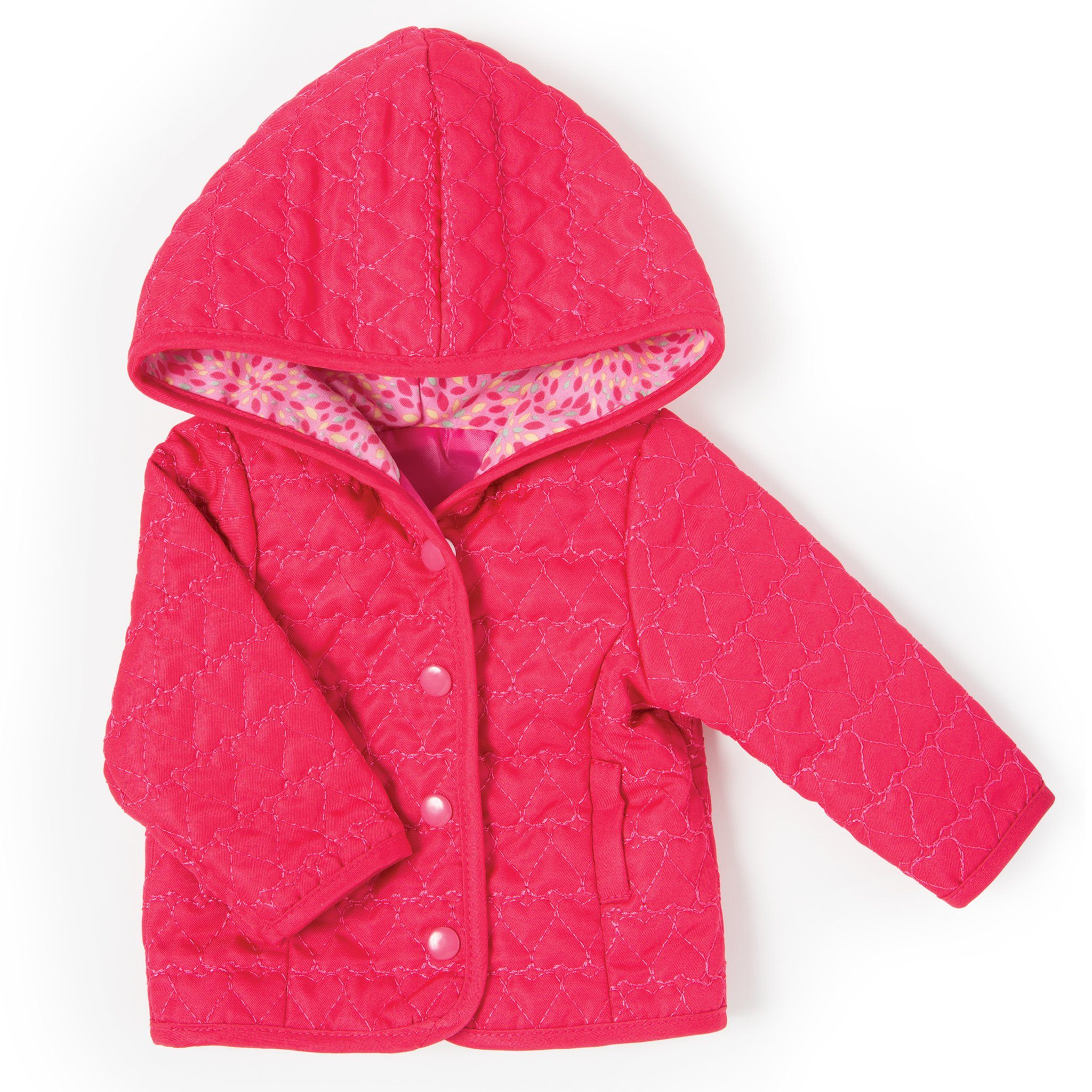 Out and About bright pink quilted hooded jacket with patterned lining fits all1 18 inch dolls.