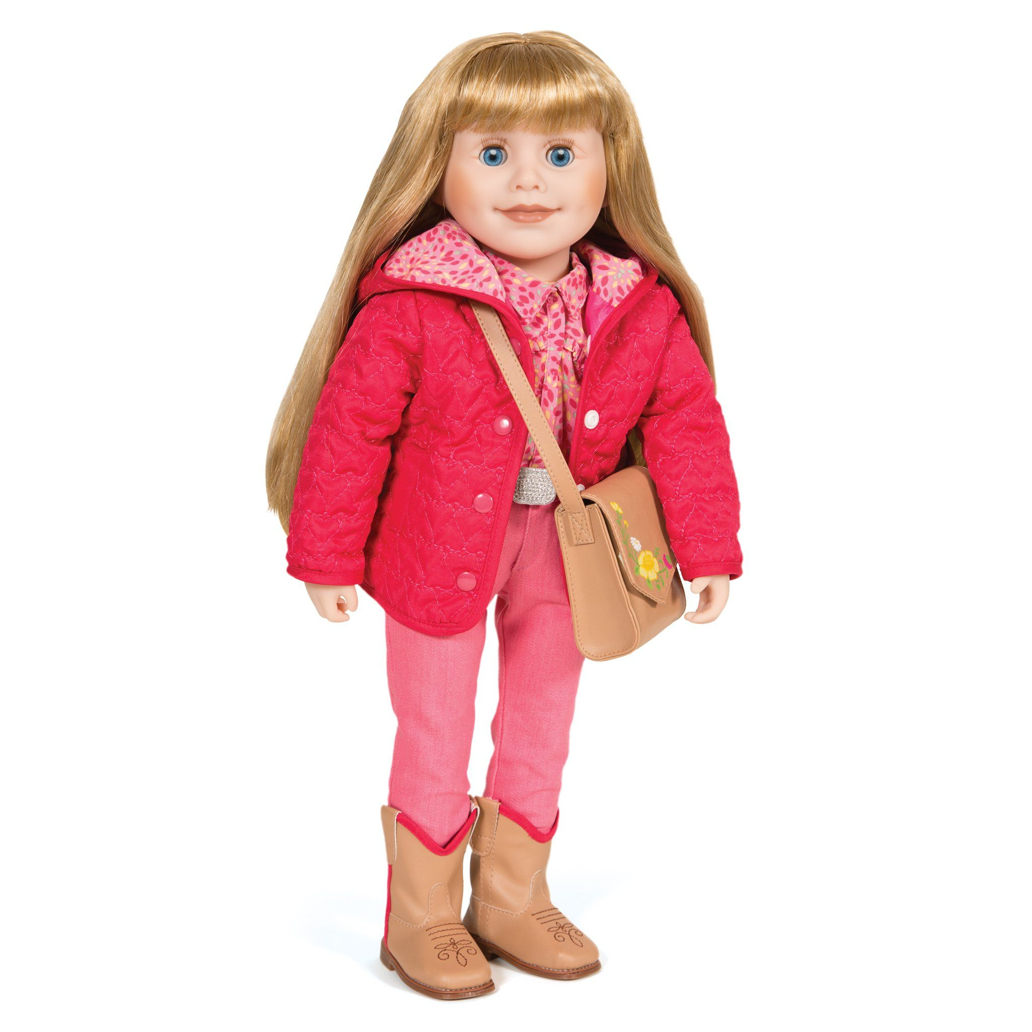 Out and About bright pink quilted hooded jacket and tan saddle bag with flower graphic fits all1 18 inch dolls.