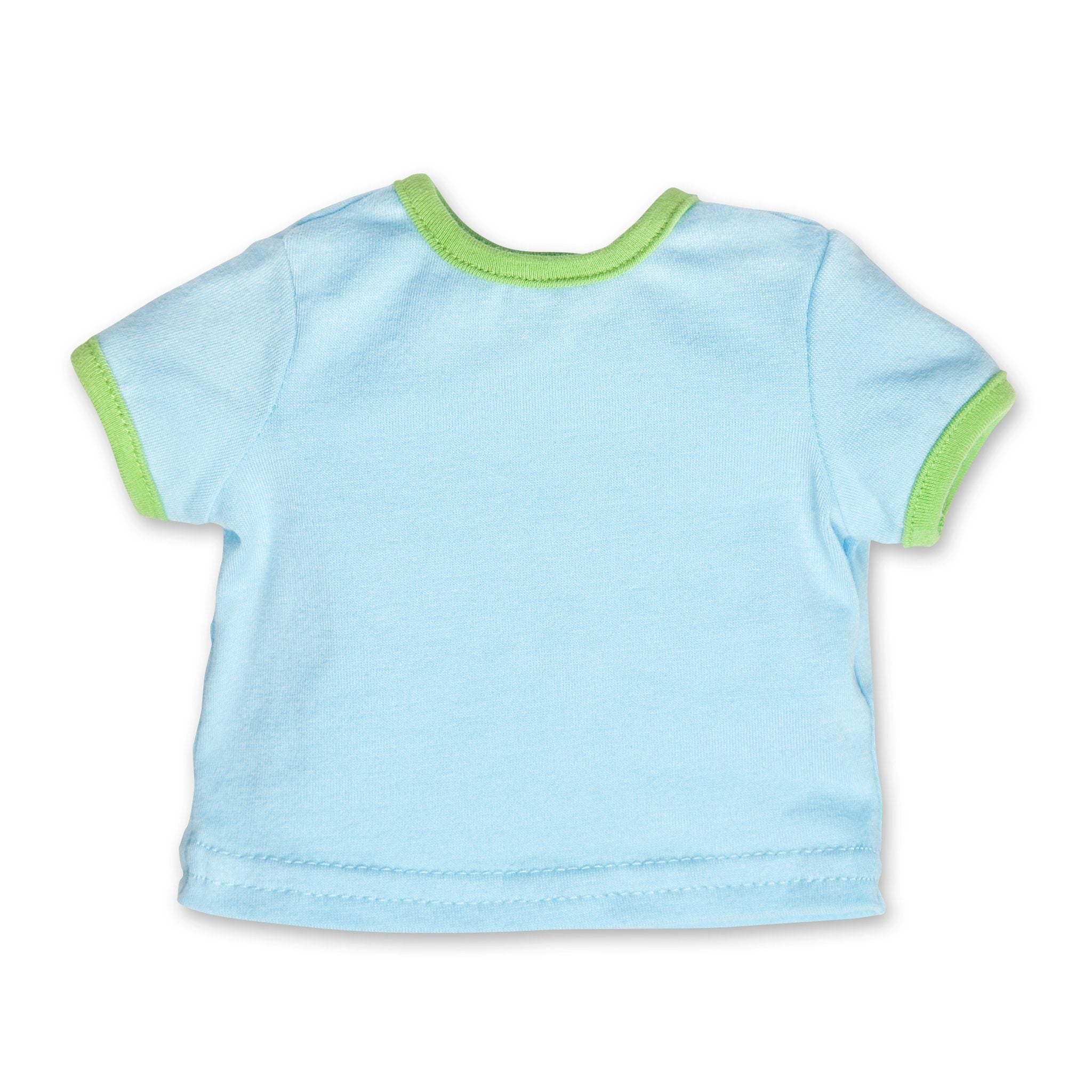 Outdoor Odyssey light blue ringer t-shirt with green accent fit all 18 inch dolls.