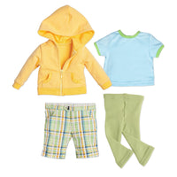 Outdoor Odyssey yellow hoody, light blue ringer t-shirt, green plaid shorts and green footless tights fit all 18 inch dolls.