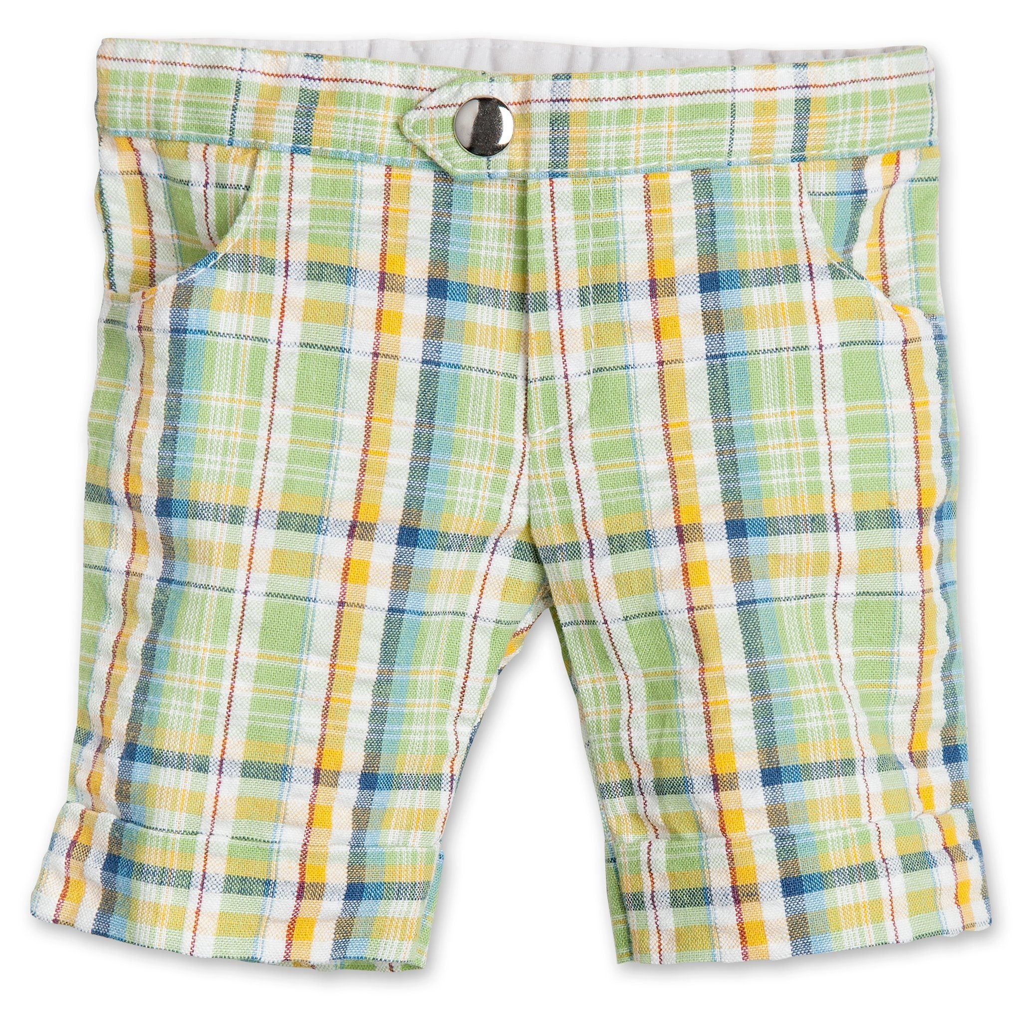 Outdoor Odyssey green plaid shorts fit all 18 inch dolls.
