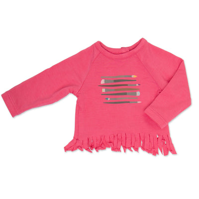Painter's Palette bright pink long-sleeved top with fringe hem and paintbrush graphic for all 18 inch dolls.