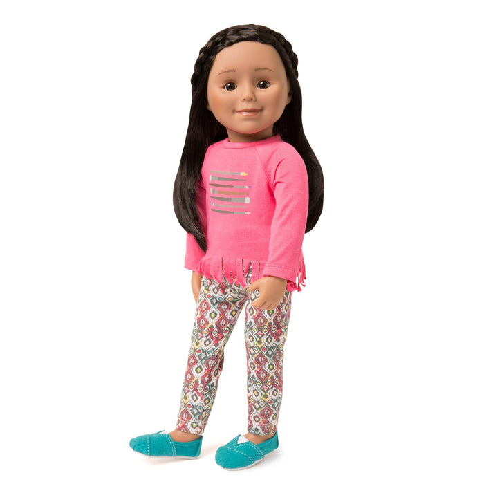 Painter's Palette bright pink long-sleeved top with fringe hem and paintbrush graphic, multi-coloured pattern tights, and teal slip-on casual shoes for all 18 inch dolls.