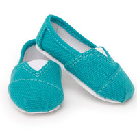 Painter's Palette teal slip-on casual shoes for all 18 inch dolls.