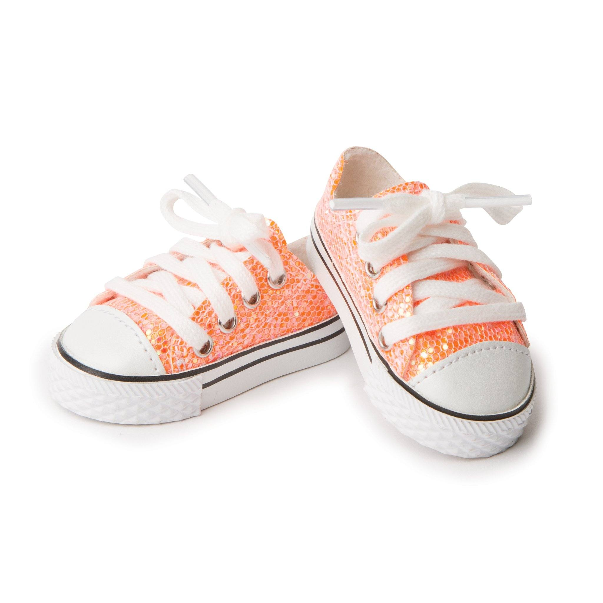 Peachy keen sparkly peach lace-up sneakers fit all 18 inch dolls.