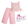Perfectly Pink Pyjamas floral pink tank top and striped pink PJ bottoms with fuzzy bunny slippers fits all Maplelea dolls.