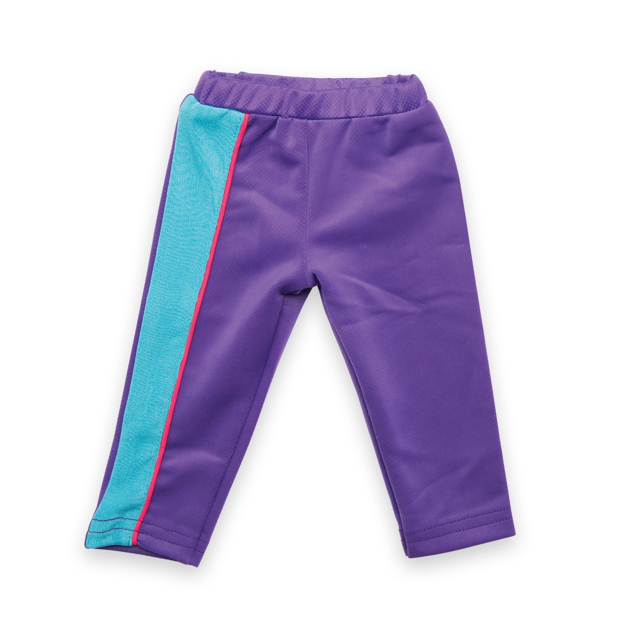 Personal Best purple and blue track pants fits all 18 inch dolls.