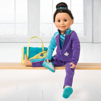 Personal Best purple and blue track pants, track jacket, with teal sparkly bodysuit, hair scrunchie and bright green and teal gym bag. Fits all 18 inch dolls.