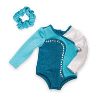 Personal Best teal sparkly bodysuit, hair scrunchie fits all 18 inch dolls.