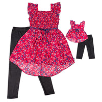 Girl and Doll Set: Floral High-Low Top with Leggings