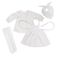 Pioneer Quebecoise 8-piece heritage outfit white chemise, white scarf, white tights, apron and bonnet fits all 18 inch dolls.