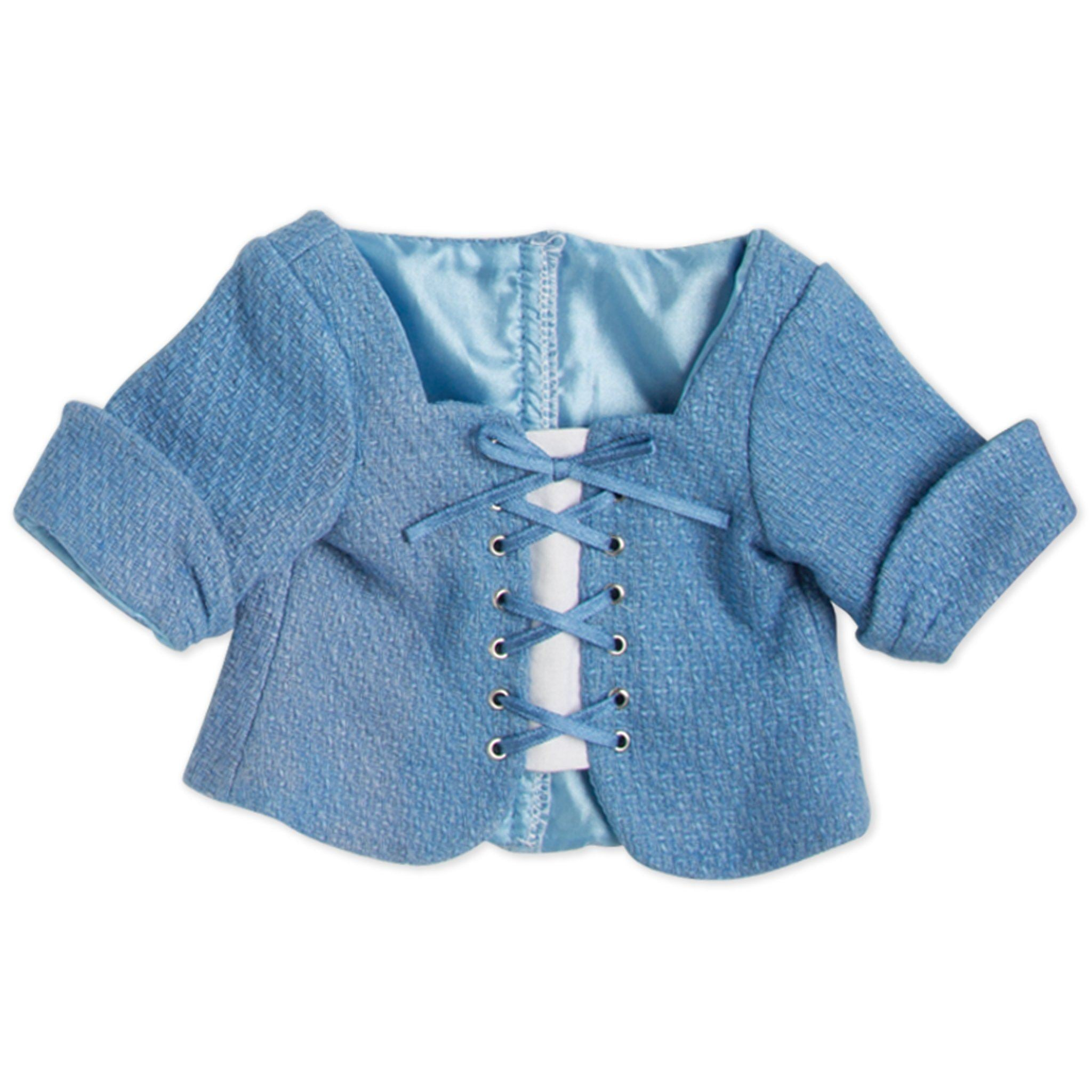 Pioneer Quebecoise 8-piece heritage outfit blue lace-up chemise fits all 18 inch dolls.