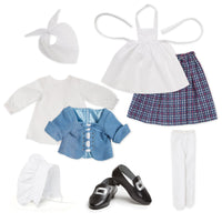 Pioneer Quebecoise 8-piece heritage outfit blue chemise, mantelet, white scarf, plaid skirt, white tights, apron and bonnet with black buckle shoes fits all 18 inch dolls.