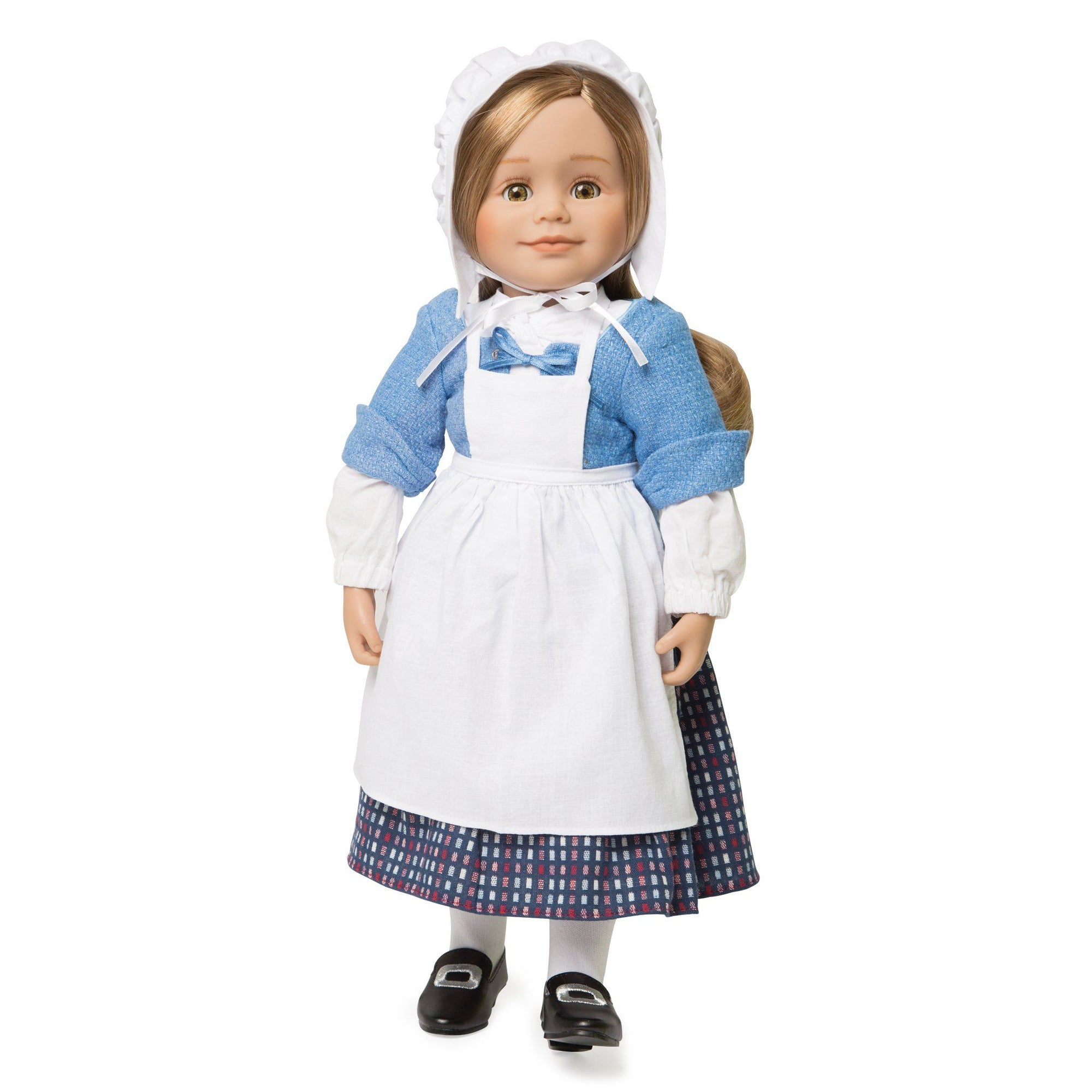 Pioneer Quebecoise 8-piece heritage outfit white chemise, blue mantelet, white scarf, plaid skirt, white tights, apron and bonnet with black buckle shoes fits all 18 inch dolls.