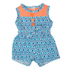 Play Day Romper blue iKat diamond print romper with orange yoke and buttons fits all 18 inch dolls.