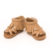 Play Day Romper tan fringe sandals fits all 18 inch dolls.
