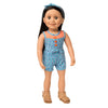 Play Day Romper blue iKat diamond  print romper with orange accents, matching headband, and tan fringe sandals fits all 18 inch dolls.