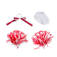 Pom pom power red and white hair ribbon, pom poms, white socks fits all 18 inch dolls.