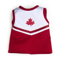 Pom pom power red and white cheer jersey with red maple leaf fits all 18 inch dolls.
