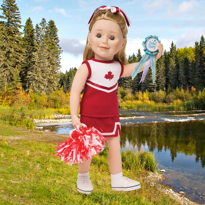 Pom pom power red and white cheer uniform, jersey with maple leaf, red skort, red and white hair ribbon, pom poms, white socks and sneakers. Fits all 18 inch dolls.