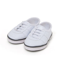Pom pom power white sneakers fits all 18 inch dolls.