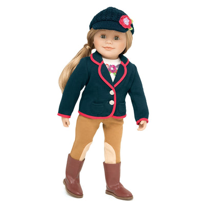 Poppy Pensees riding equestrian outfit, beige pants, navy blazer with red trim, crochet navy hat with flower detail, brown boots, and white long sleeve top with flower graphic fits all 18 inch dolls.
