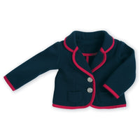 Poppy Pensees riding equestrian outfit navy blazer with red trim fits all 18 inch dolls.