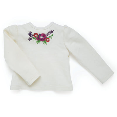 Poppy Pensees riding equestrian outfi white one sleeve top with flower graphic fits all 18 inch dolls.