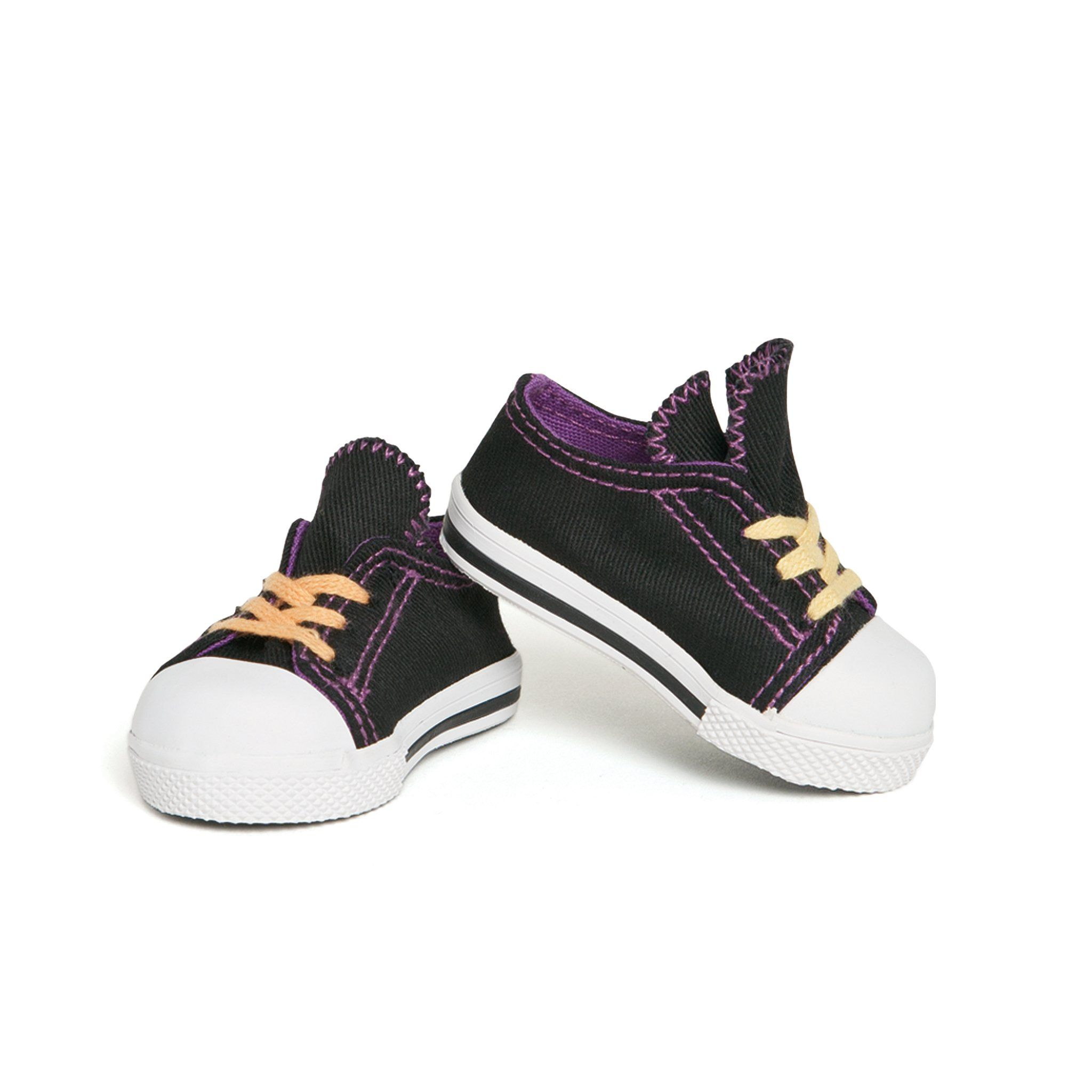 Positively Peaceful black runners with mis-matched laces. Fits all 18 inch dolls.