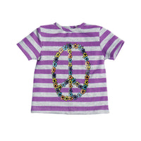 Positively Peaceful purple and grey striped top with peace sign floral graphic, purple embroidered vest, and black runners with mis-matched laces. Fits all 18 inch dolls.