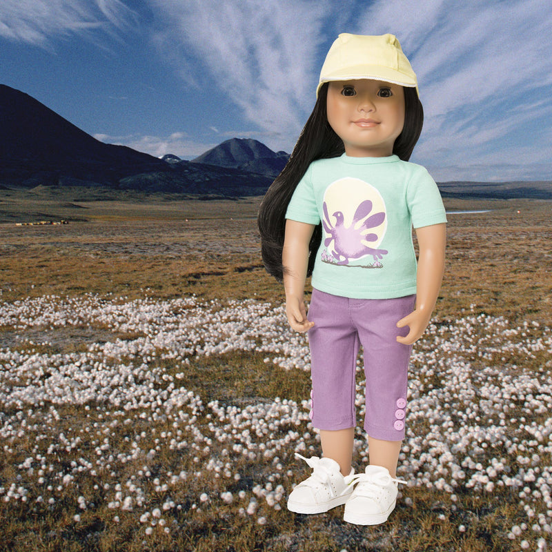 Ptarmigans Rock casual outfit purple capris with button detail, green t-shirt with ptarmigan graphic and  yellow cap fits all 18 inch dolls.