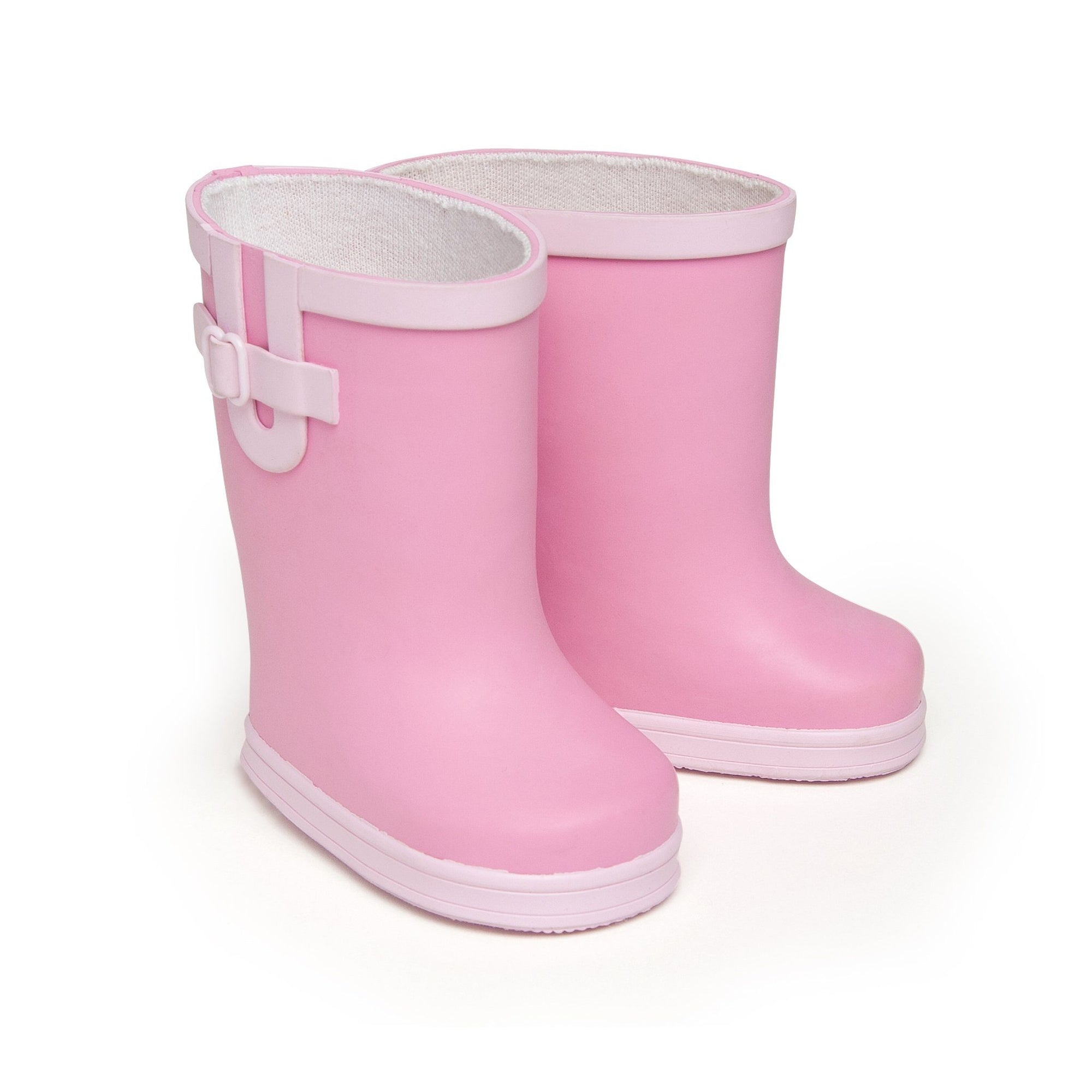 Two-tone pink puddle jumper rubber rain boots fit all 18 inch dolls.