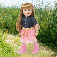 Two-tone pink puddle jumper rubber rain boots shown on 18 inch doll.