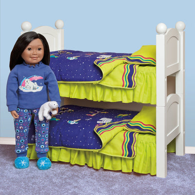 Purple and green arctic motif bedding shown on bunk bed (2 Maplelea doll beds) with Saila doll