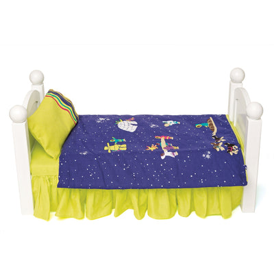 Purple and green arctic motif bedding shown on Maplelea doll bed