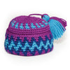 Purple and blue hand-knit pang hat fits all 18 inch dolls.