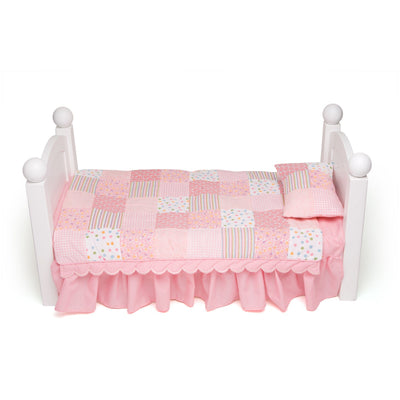 Quilted pink comforter pillow, mattress with dust ruffle fits Maplelea doll bed for 18 inch dolls