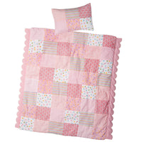 Pink quilt and pillow for 18 inch doll bed by Maplelea.