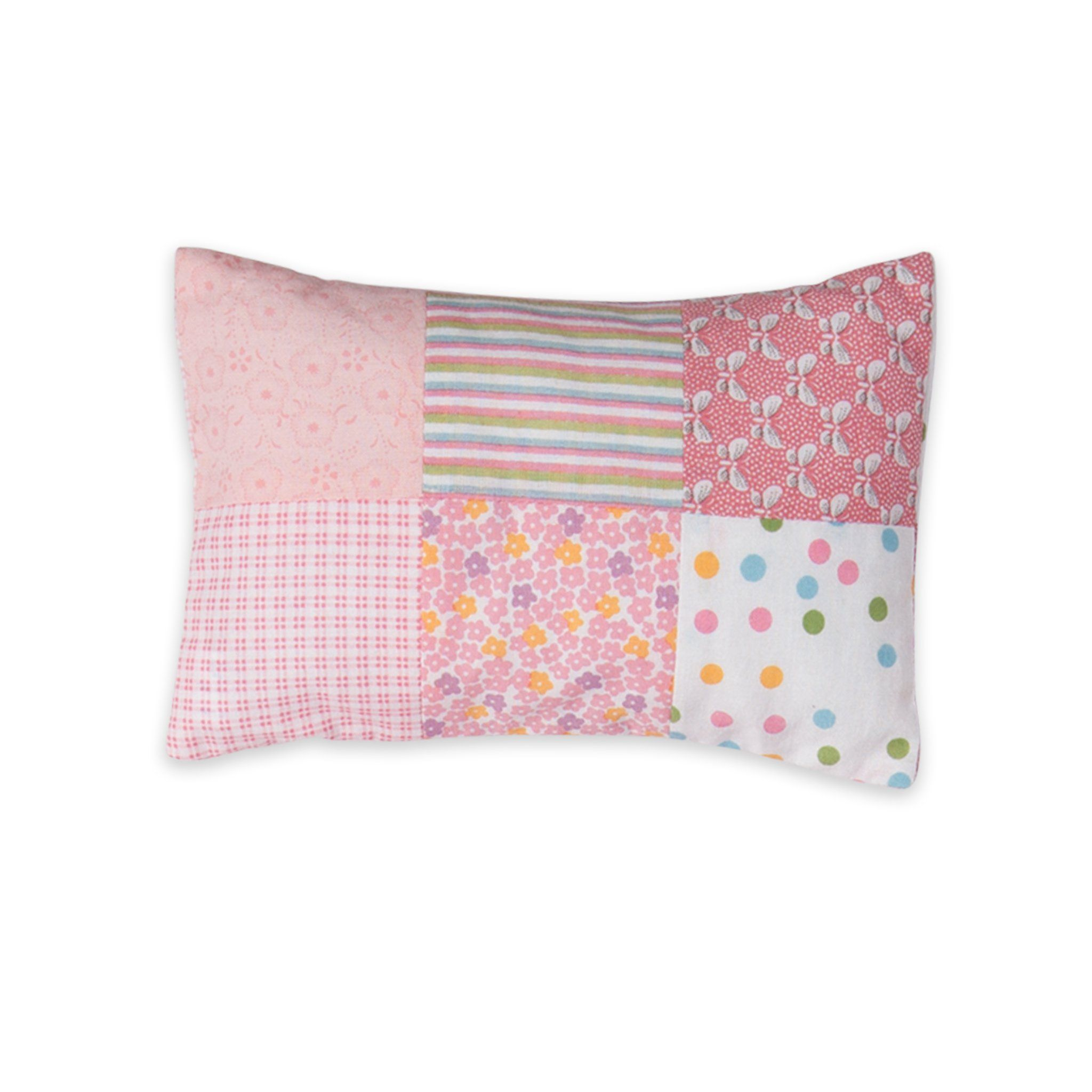 Quilted comfort pink pillow with multi-coloured pink squares for all 18 inch dolls.