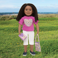 Rose of hearts pink t-shirt with ruffle heart, white capri pants, floral bag and 4 heart-themed note cards with envelopes fits all 18 inch dolls.