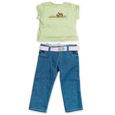 Tee with horse graphic, blue jeans with belt and buckle fits all 18 inch dolls.