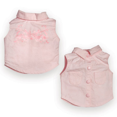 Pink sleeveless western shirt with overprinted design fits all 18 inch dolls.