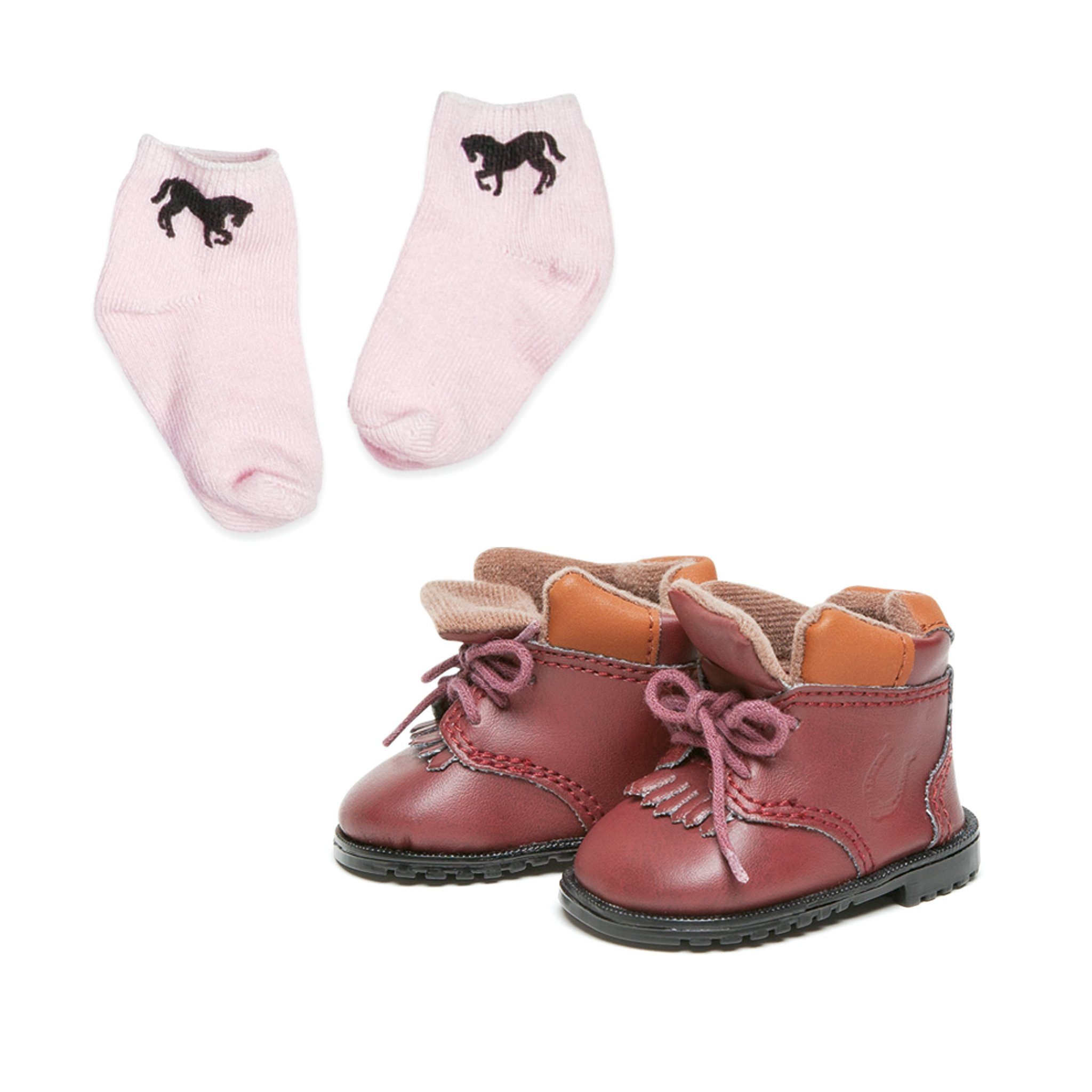 Western riding ankle boots and pink socks with horse design, fots all 18 inch dolls.
