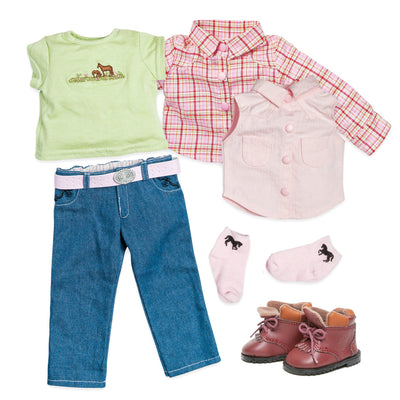 "Riding outfit includes plaid shirt, green tee, sleeveless western shirt, socks, boots fits 18"" dolls"
