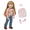 "Riding outfit includes plaid shirt, green tee, sleeveless western shirt, socks, boots on 18"" doll."